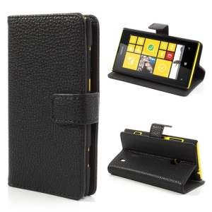 Black Litchi Leather Wallet Stand Case for Nokia Lumia 520 525