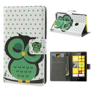 Cute Green Owl for Nokia Lumia 520 525 Stand Leather Case w/ Wallet