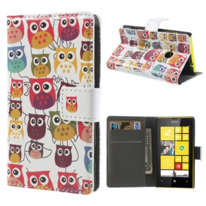 Multiple Owls Wallet Leather Shell Cover Stand for Nokia Lumia 520 525