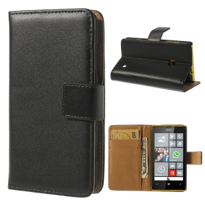 For Nokia Lumia 520 525 Split Genuine Leather Card Wallet Leather Case w/ Stand - Black