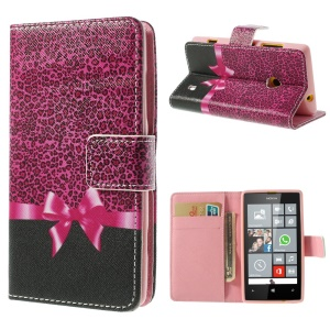 Leopard & Bowknot Leather + TPU Wallet Case for Nokia Lumia 520 525 w/ Stand