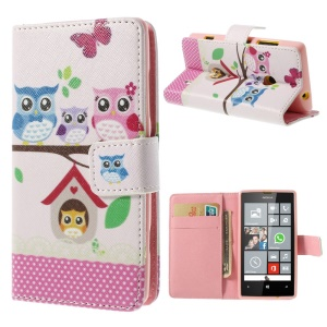 The Owl Family Walllet Leather Case for Nokia Lumia 520 525 w/ Stand