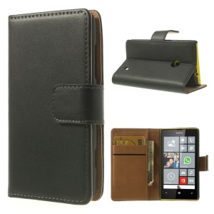 Genuine Split Leather Folio Wallet Case for Nokia Lumia 520 525