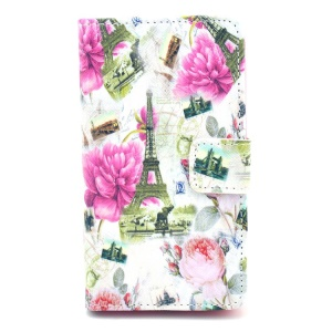 Eiffel Tower & Flowers Pattern Leather Wallet Cover Stand for Nokia Lumia 520 525