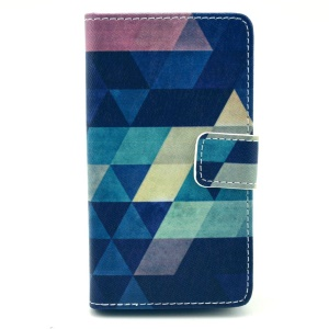 For Nokia Lumia 520 525 Leather Wallet Case w/ Stand - Colorful Triangles
