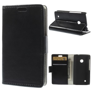 Black Crazy Horse Wallet Leather Stand Case for Nokia Lumia 530 RM-1017 RM-1019