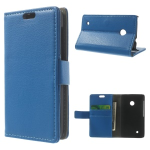 Blue Litchi Skin Wallet Leather Case Stand for Nokia Lumia 530 RM-1017 RM-1019
