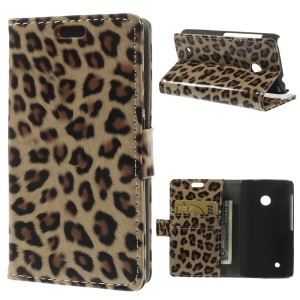 Fashion Leopard Glossy Wallet Leather Stand Case for Nokia Lumia 530 RM-1017 RM-1019
