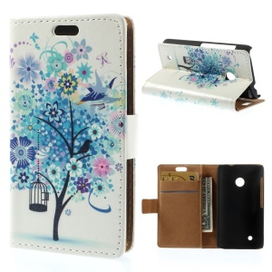 Illustration Pattern Flip Leather Cover for Nokia Lumia 530 RM-1017 RM-1019 - Blue Flower Tree Bird