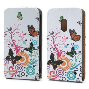 Colorized Butterflies Circles Magnetic Vertical Flip Leather Case for Nokia Lumia 620
