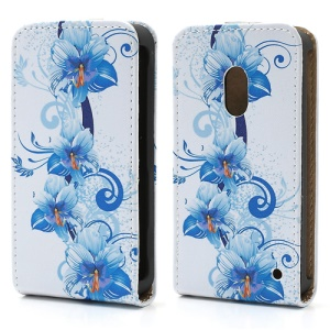 Nokia Lumia 620 Fashion Vertical Leather Case Blue Blooming Flower Pattern