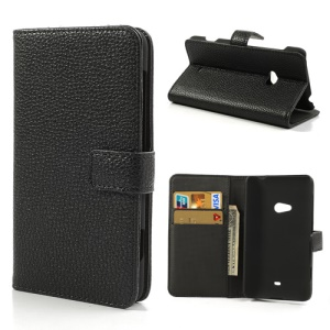 Black for Nokia Lumia 625 Lychee Leather Case Wallet w/ Stand