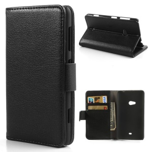 Black Lychee Skin Card Holder Slot PU Leather Wallet Flip Cover Case for Nokia Lumia 625