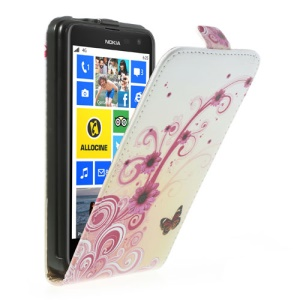 Rose Flowers & Butterflies Vertical Flip Leather Cover for Nokia Lumia 625