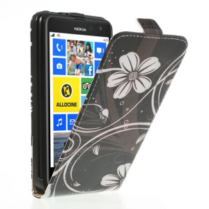 Flowers Pattern Vertical Magnetic Flip Leather Cover for Nokia Lumia 625