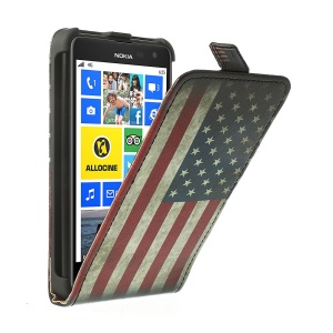 Retro US National Flag for Nokia Lumia 625 Vertical Flip PU Leather + PC Shell Case