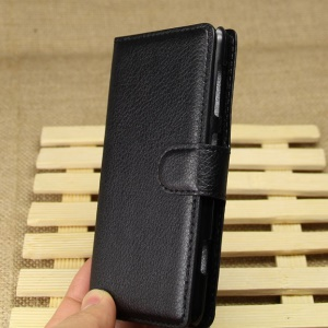 Litchi Grain Leather Stand Case w/ Wallet for Nokia Lumia 625 - Black