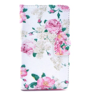 For Nokia Lumia 625 Wallet Leather Stand Cover - Peony Flowers