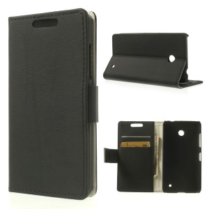 Black for Nokia Lumia 635 630 Dual SIM Lychee Leather Wallet Stand Cover