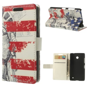 Statue of Liberty Pattern Wallet Leather Protector Case for Nokia Lumia 635 630 Dual SIM RM-978