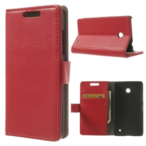 Red Litchi Leather Wallet Stand Case for Nokia Lumia 630 / 630 Dual SIM RM-978