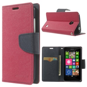 Mercury GOOSPERY for Nokia Lumia 630 Fancy Diary Leather Wallet Stand Cover - Dark Blue / Rose