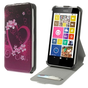 Heart Flowers Vertical Leather Stand Case w/ Card Slot for Nokia Lumia 630