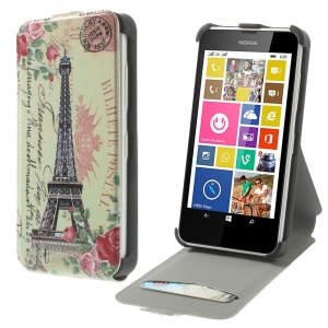 Eiffel Tower & Rose Flowers Vertical PU Leather Stand Case for Nokia Lumia 630