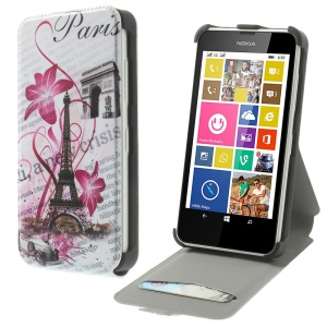 Eiffel Tower & Morning Glory Vertical PU Leather Stand Cover for Nokia Lumia 630