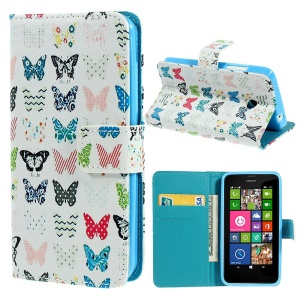 Vivid Butterflies Leather Magnetic Case w/ Card Slots for Nokia Lumia 630 Dual SIM RM-978