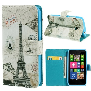 Paris Eiffel Tower Magnetic Leather Card Holder Cover for Nokia Lumia 630 Dual SIM RM-978