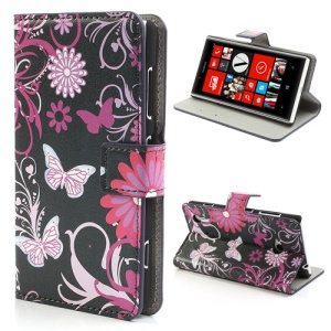 Butterfly Flora Leather Magnetic Case Cover Stand for Nokia Lumia 720