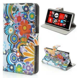 Colorized Flowers Leather Flip Case Cover for Nokia Lumia 720
