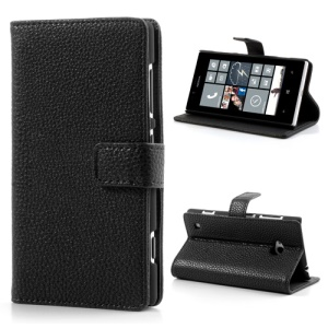 Black for Nokia Lumia 720 Litchi Leather Diary Case w/ Stand