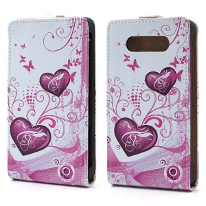 Two Hearts Design Vertical Flip Leather Case Shell for Nokia Lumia 820