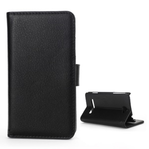Litchi Leather Wallet Case Stand for HTC Windows Phone 8S - Black