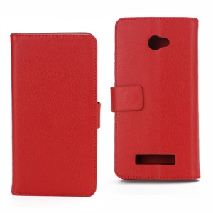 Lychee Leather Wallet Stand Cover Case for HTC Windows Phone 8X - Red