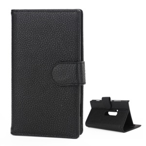 Litchi Leather Wallet Case Stand Cover for Nokia Lumia 920 - Black