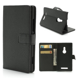 Black PU Leather Wallet Credit Card Holder Case w/ Stand for Nokia Lumia 925