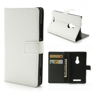 White PU Leather Wallet Credit Card Holder Case w/ Stand for Nokia Lumia 925