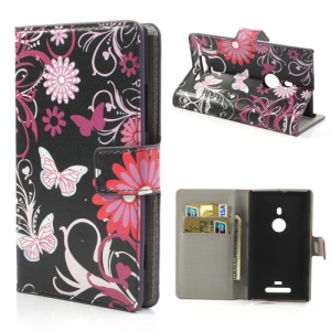 Butterfly & Flower Wallet Leather Stand Shell for Nokia Lumia 925