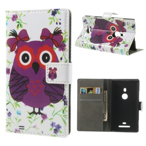 Lovely Cartoon Owl & Flower Magnetic Leather Case w/ Card Slot & Stand for Nokia Lumia 925