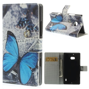 Pretty Blue Butterfly Wallet Leather Case with Stand for Nokia Lumia 930 / Lumia Icon 929