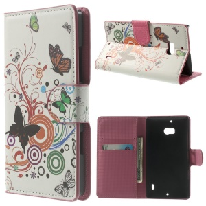 Vivid Butterfly Circle Stand Leather Protective Shell for Nokia Lumia 930 / Lumia Icon 929
