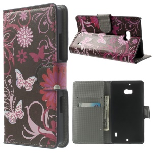 Butterfly & Flower Stand Leather Protective Shell for Nokia Lumia 930 / Lumia Icon 929