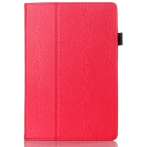 Red Lychee Grain Textured Leather Cover Stand for Lenovo IdeaTab A10-70 A7600