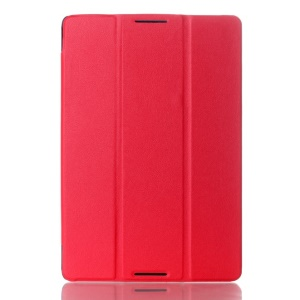 Red Textured Tri-fold Stand Smart Leather Flip Case for Lenovo IdeaTab A10-70 A7600