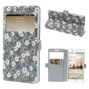 Grey Pretty Flowers Window View Leather Case Stand for Huawei Ascend P6
