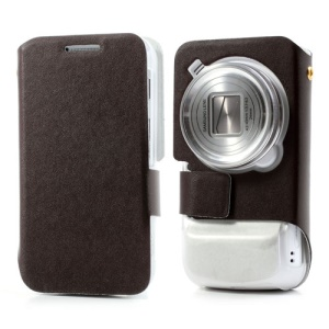 Coffee Doormoon Genuine Leather Skin Case for Samsung Galaxy S4 Zoom SM-C1010