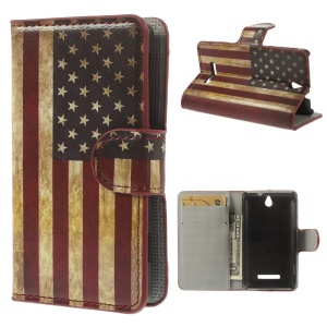 Vintage USA National Flag for Sony Xperia E Dual C1605 C1505 Wallet Leather Cover